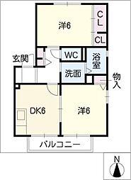 ボナール西口C棟[2階]の間取り