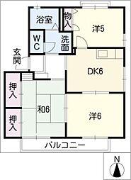サニーヒル二ツ坂 B棟[1階]の間取り