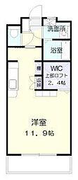 ラフィーネ桜館 3階ワンルームの間取り