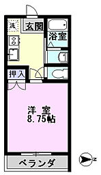 千葉県流山市平和台2丁目の賃貸アパートの間取り
