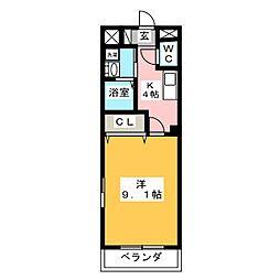 岐阜市東鶉I様新築アパートA棟[3階]の間取り
