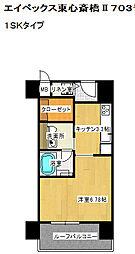 エイペックス東心斎橋II 7階1SKの間取り