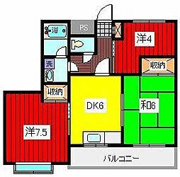 第二錦生コーポ[5階]の間取り