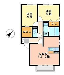 スピリアヒビツA/B[2階]の間取り