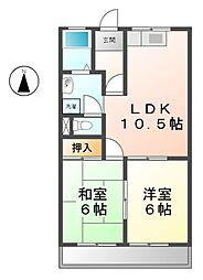 愛知県あま市本郷郷中の賃貸マンションの間取り