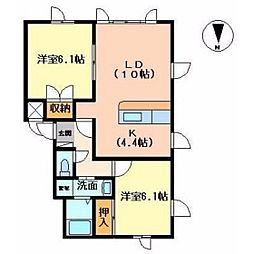 クレストール・ピアレ[2階]の間取り
