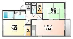 岡山県岡山市南区西市の賃貸アパートの間取り