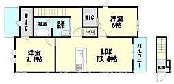 [タウンハウス] 福岡県糟屋郡志免町南里2丁目 の賃貸【/】の間取り
