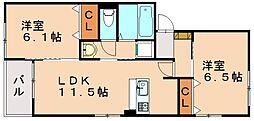 Urara2 2階2LDKの間取り