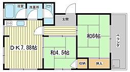 兵庫県姫路市野里月丘町の賃貸マンションの間取り