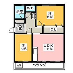 西愛宕住宅A棟[4階]の間取り