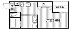 エムステージ新大阪 1階1Kの間取り
