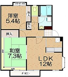 埼玉県戸田市笹目2丁目の賃貸アパートの間取り