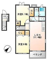 三重県松阪市大塚町の賃貸アパートの間取り