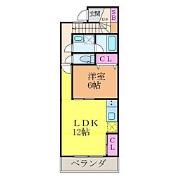 Sora-La祝谷[205号室]の間取り