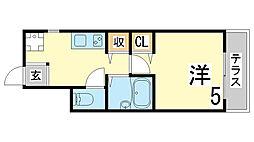 神戸市西神・山手線 上沢駅 徒歩5分の賃貸アパート 1階1Kの間取り