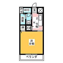 スカイハイツ岩塚[2階]の間取り