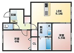 大阪府八尾市山本町南7丁目の賃貸アパートの間取り
