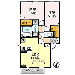 堀越様D-Room新築工事 1階2LDKの間取り