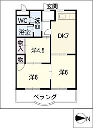 コスモハイム幸[1階]の間取り