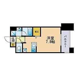 ザ・レジデンス博多 10階ワンルームの間取り