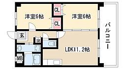 愛知県日進市岩崎町芦廻間の賃貸マンションの間取り