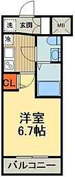 JR京浜東北・根岸線 川口駅 徒歩7分の賃貸マンション 9階1Kの間取り