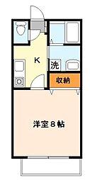 東京都稲城市東長沼の賃貸アパートの間取り