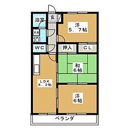 エクセレントハイツ1号館[1階]の間取り