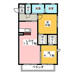 フローレス桃山[2階]の間取り