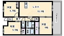 北大阪急行電鉄 桃山台駅 徒歩9分の賃貸マンション 5階3LDKの間取り