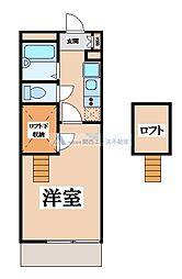 JR片町線(学研都市線) 野崎駅 徒歩16分の賃貸マンション 1階1Kの間取り