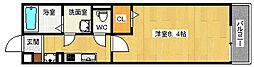 JR東西線 加島駅 徒歩6分の賃貸マンション 3階1Kの間取り