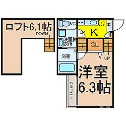 愛知県名古屋市千種区青柳町7の賃貸アパートの間取り