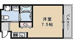 JR大阪環状線 天王寺駅 徒歩5分の賃貸マンション 2階ワンルームの間取り