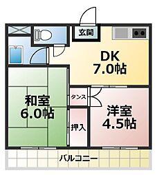 シャトー鴻之台[3階]の間取り