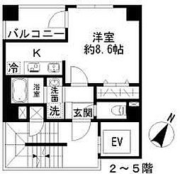 Azur勝どき4丁目 3階1Kの間取り