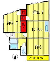 コーポ田中(五香)[3階]の間取り