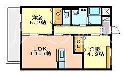 兵庫県三木市別所町小林の賃貸アパートの間取り