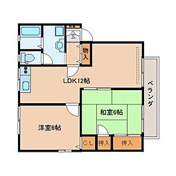 奈良県香芝市逢坂8丁目の賃貸アパートの間取り