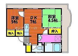 岡山県岡山市東区東平島の賃貸マンションの間取り