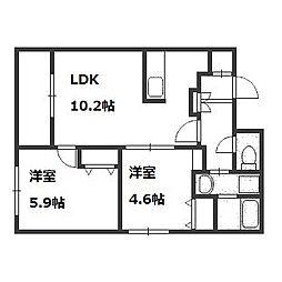 北海道札幌市豊平区平岸一条6丁目の賃貸マンションの間取り