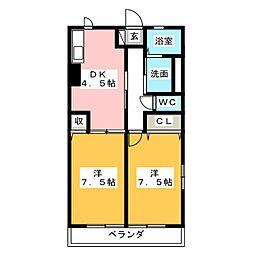 ハイム野間 2階2DKの間取り