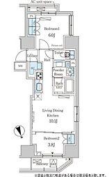 東京メトロ日比谷線 神谷町駅 徒歩8分の賃貸マンション 7階2LDKの間取り