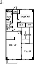 愛知県名古屋市緑区尾崎山1丁目の賃貸マンションの間取り