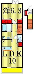 郁エスポワール2 A棟[201号室]の間取り