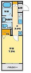 JR川越線 的場駅 徒歩4分の賃貸アパート 1階1Kの間取り