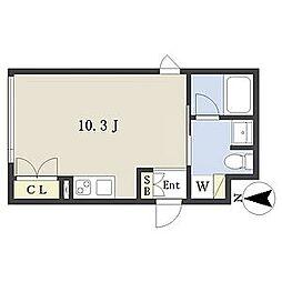 名古屋市営鶴舞線 浅間町駅 徒歩10分の賃貸マンション 5階ワンルームの間取り