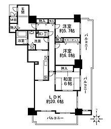 兵庫県西宮市池田町の賃貸マンションの間取り