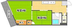 シャインマンション帝塚山[6階]の間取り